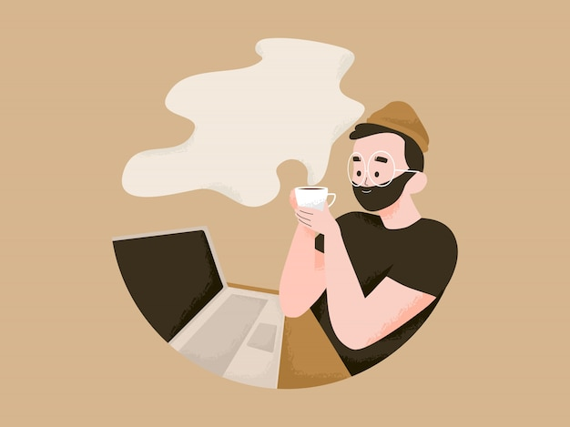 Homem trabalhando no laptop e tem uma ilustração de café. dia internacional do café com conceito de espaço de texto