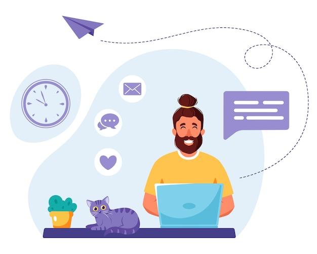 Homem trabalhando no laptop. freelance, estudo online, trabalho remoto