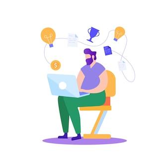 Homem trabalhando no laptop. planeje o projeto bem sucedido.