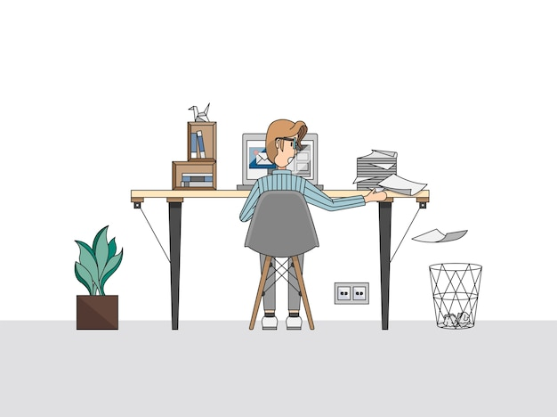 Homem, trabalhando, pilha, papeis
