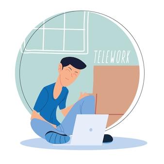 Homem trabalhando remotamente da casa dela, ilustração de teletrabalho