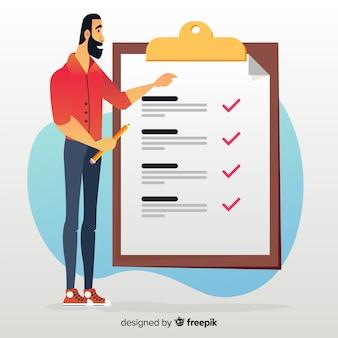 Homem, trabalhar, lista de verificação, fundo