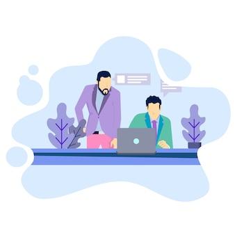 Homem, trabalho, com, seu, laptop, ilustração, conceito