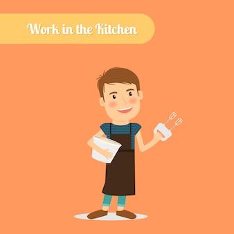 Homem, trabalho, em, a, cozinha