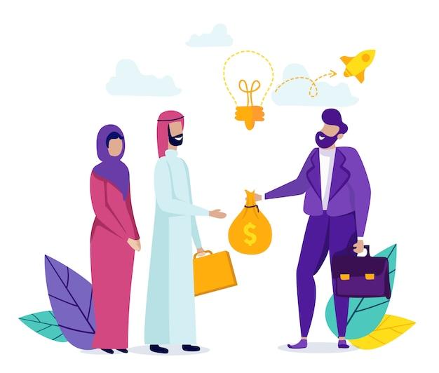 Homem transfere dinheiro para a família árabe.