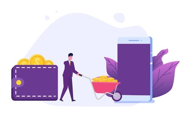 Homem transfere dinheiro smartphone com personagem plano