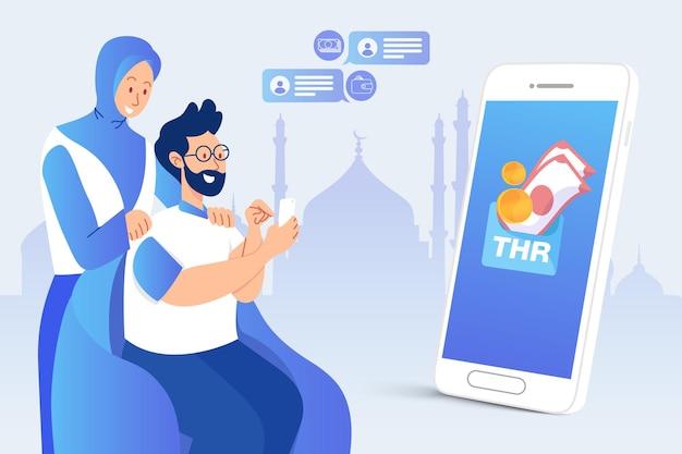 Homem transferindo bônus thr tunjangan hari raya ou eid mubarak por meio de aplicativo de banco on-line