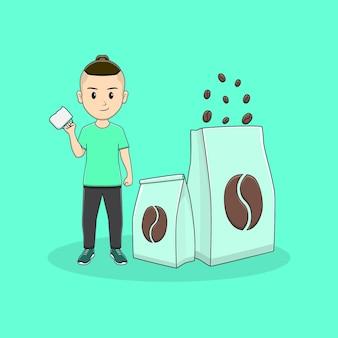Homem traz caneca de café com design de embalagem de café