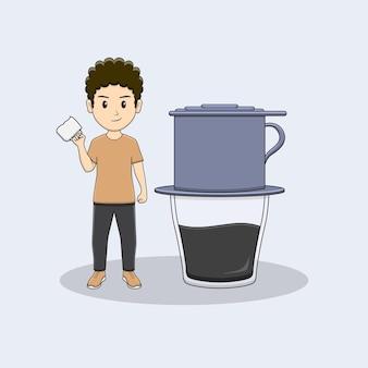 Homem traz caneca de café com design vietnam drip coffe