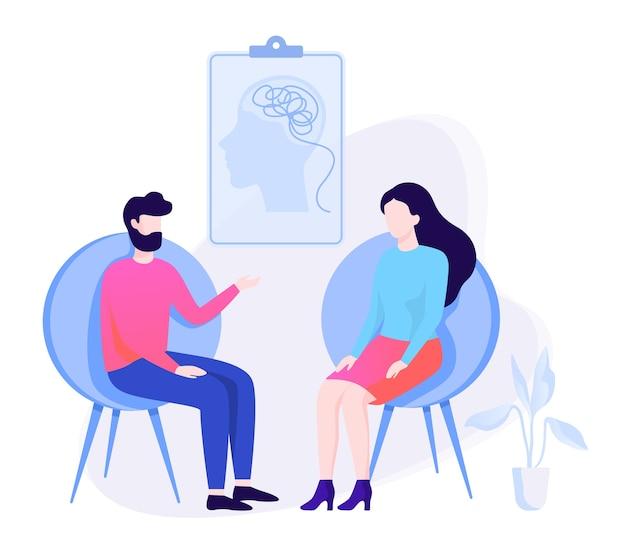 Homem triste sentado na cadeira falando com uma psicóloga. visita ao psiquiatra e tratamento para depressão. ilustração