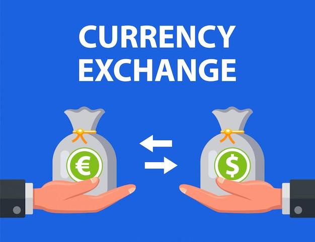 Homem troca dólares por euros. ilustração.