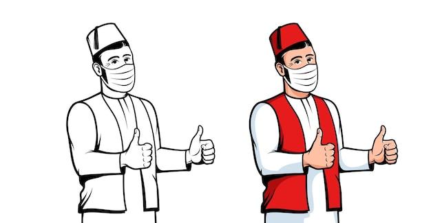 Homem turco com máscara facial positiva turco em máscara médica gesto de polegar para cima