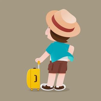 Homem turista com bagagem