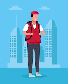 Homem turista com mala de viagem sobre o personagem da cidade