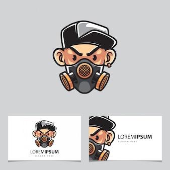 Homem urbano com máscara de gás