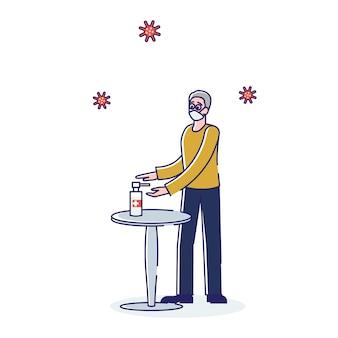Homem usa máscara protetora e desinfeta as mãos com gel antibacteriano