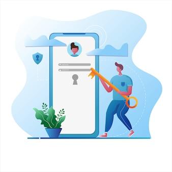 Homem usa uma chave para entrar no login seguro ilustração