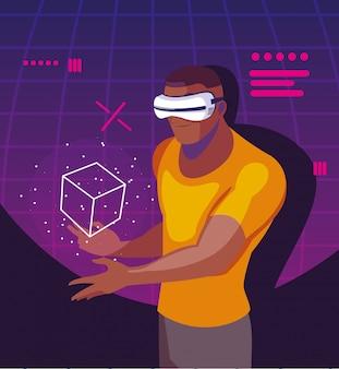 Homem usando a tecnologia de realidade aumentada