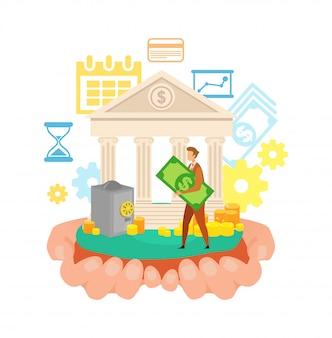 Homem, usando, banco, serviço, apartamento, vetorial, ilustração