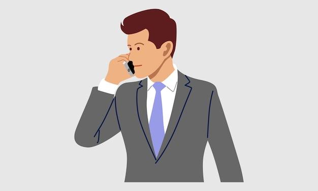 Homem usando celular para falar