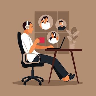 Homem usando computador para reunião virtual coletiva e videoconferência em grupo.