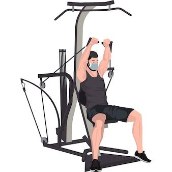 Homem usando equipamento de ginástica para desenvolver os músculos do peito e do braço
