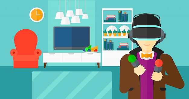 Homem usando fone de ouvido de realidade virtual