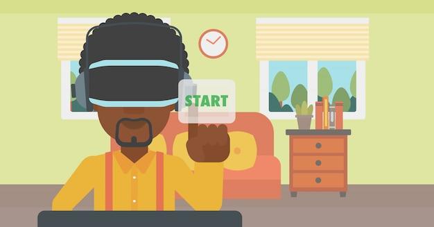 Homem usando fone de realidade virtual.