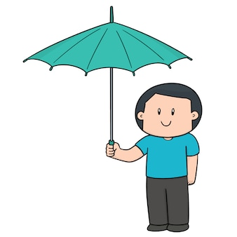 Homem usando guarda-chuva