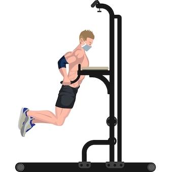 Homem usando ilustração de equipamento de fitness pull up