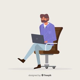 Homem, usando, laptop, fundo