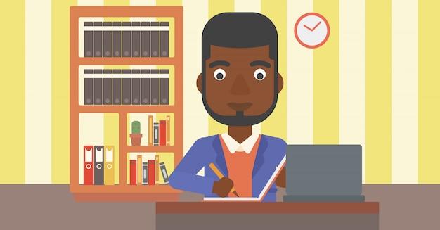 Homem usando laptop para a educação.