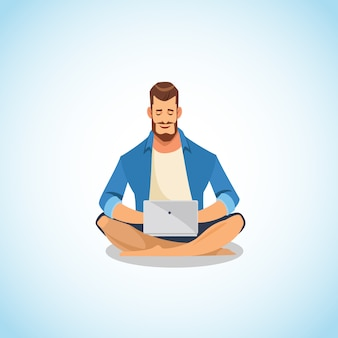 Homem, usando, laptop, para, trabalho, e, divertimento, caricatura, vetorial