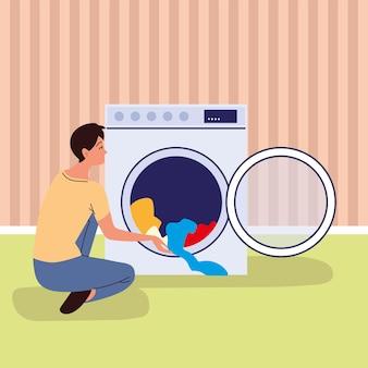 Homem usando máquina de lavar