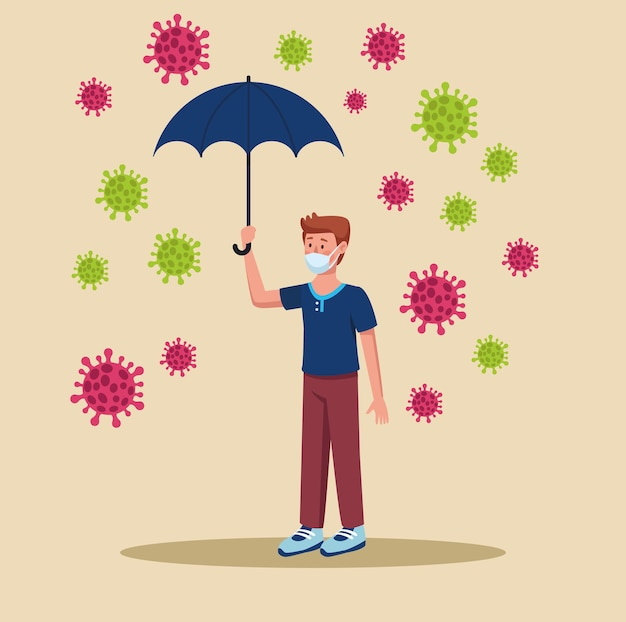 Homem usando máscara médica com ilustração de guarda-chuva e partículas