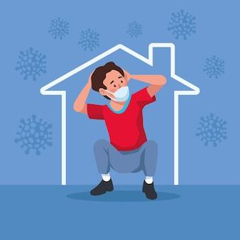 Homem usando máscara médica estressado na ilustração do personagem da casa