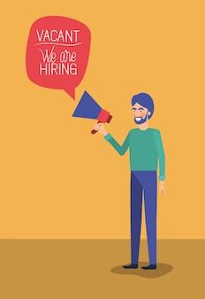 Homem, usando, megafone, com, nós, é, contratando, mensagem