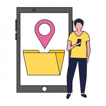 Homem usando mídia de localização de arquivo de pasta móvel