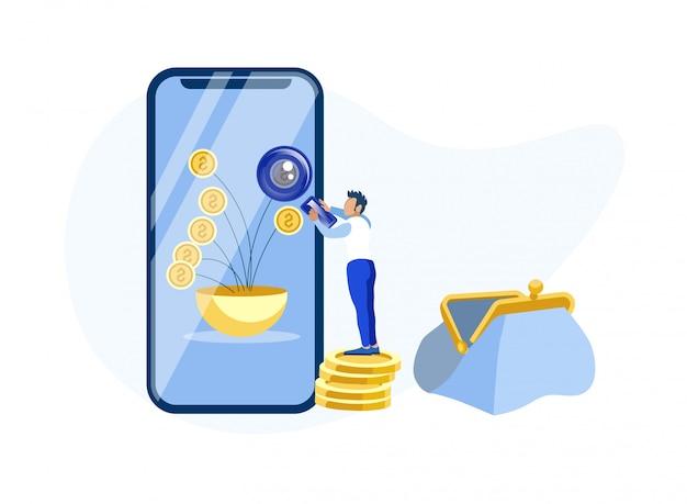 Homem usando mobile banking app metáfora dos desenhos animados