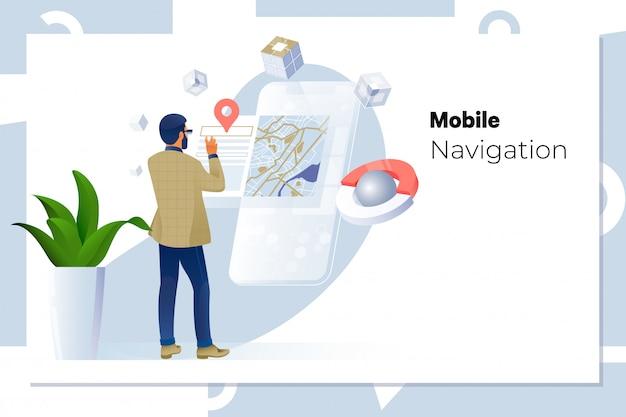 Homem, usando, navegação, app, ligado, a, telefone móvel