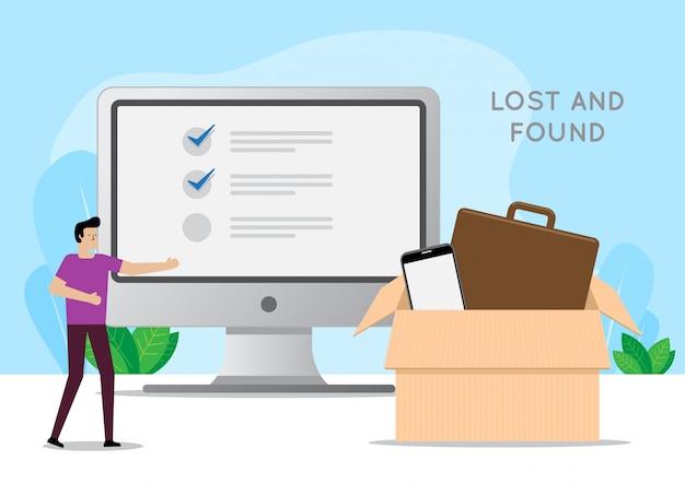 Homem usando o computador para procurar ilustração de achados e perdidos