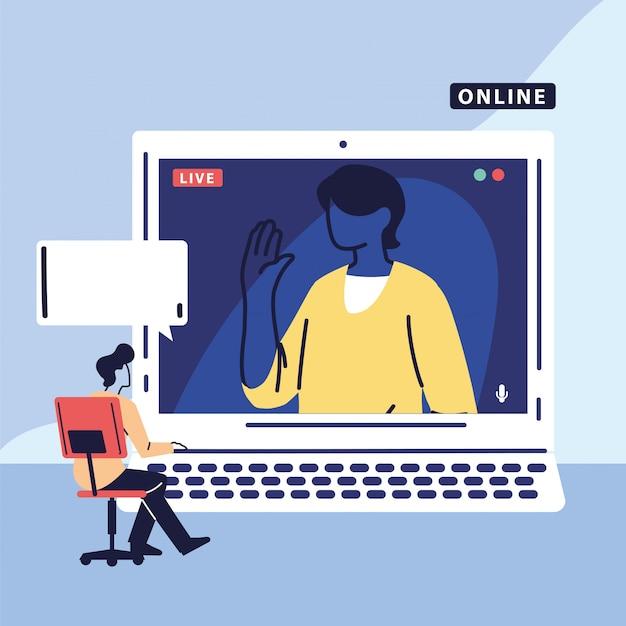 Homem usando o computador para reunião virtual, videoconferência, trabalho remoto, tecnologia