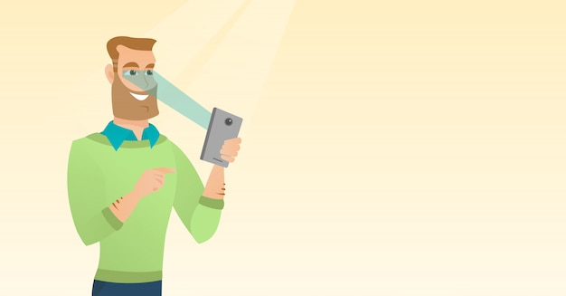 Homem usando o scanner de íris para desbloquear seu celular