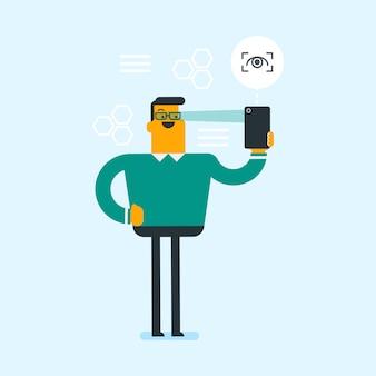 Homem usando o scanner de íris para desbloquear um telefone celular.