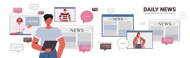 Homem usando o tablet pc discutindo notícias diárias com os amigos durante a chamada de vídeo bate-papo bolha comunicação conceito pessoas tendo ilustração horizontal retrato conferência virtual