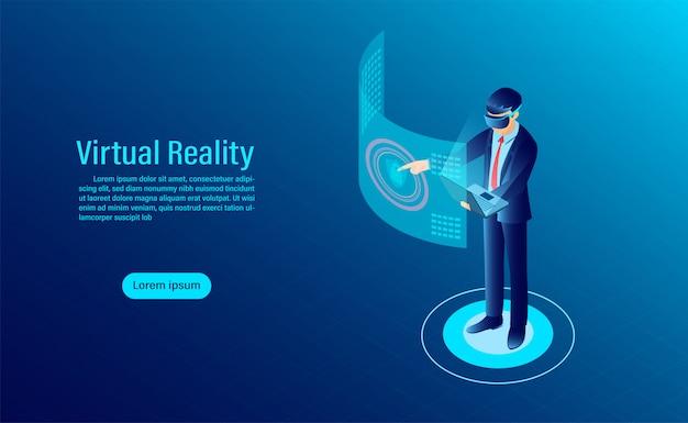 Homem usando óculos de proteção vr com interface tocar no mundo de realidade virtual. tecnologia do futuro