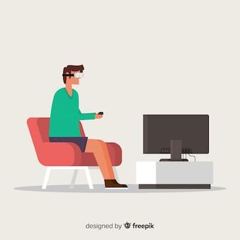 Homem, usando, realidade virtual, fundo