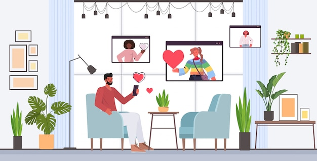 Homem usando smartphone conversando com mulheres de raça mista no navegador web windows namoro online app app relacionamento social comunicação conceito horizontal ilustração comprimento total