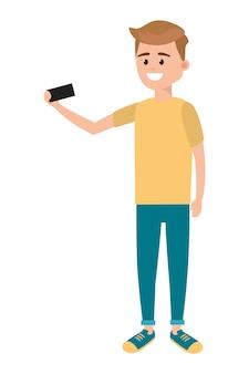 Homem, usando, smartphone, para, selfie
