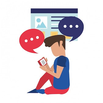 Homem, usando, smartphone, tecnologia, caricatura